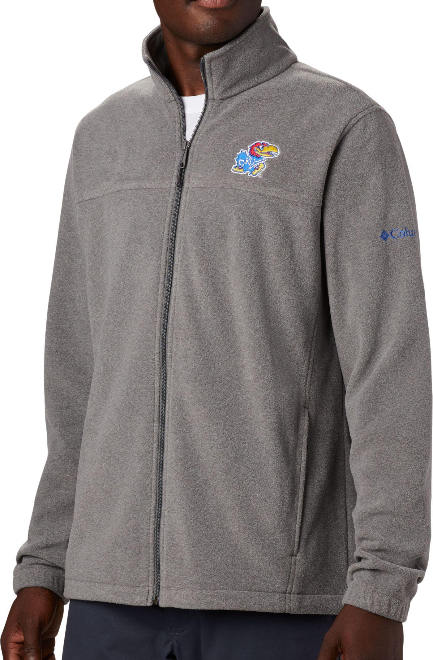 Columbia Men's Kansas Jayhawks Grey Flanker Full-Zip Fleece Jacket