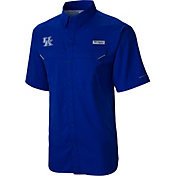 Columbia Men's Kentucky Wildcats Blue Low Drag Offshore Short Sleeve Button Down Performance Shirt