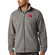 Columbia Men's Nebraska Cornhuskers Grey Flanker Full-Zip Fleece Jacket