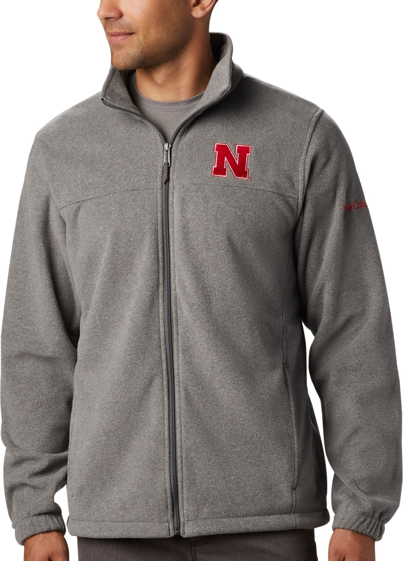 Columbia Men's Nebraska Cornhuskers Grey Flanker Full-Zip Fleece Jacket