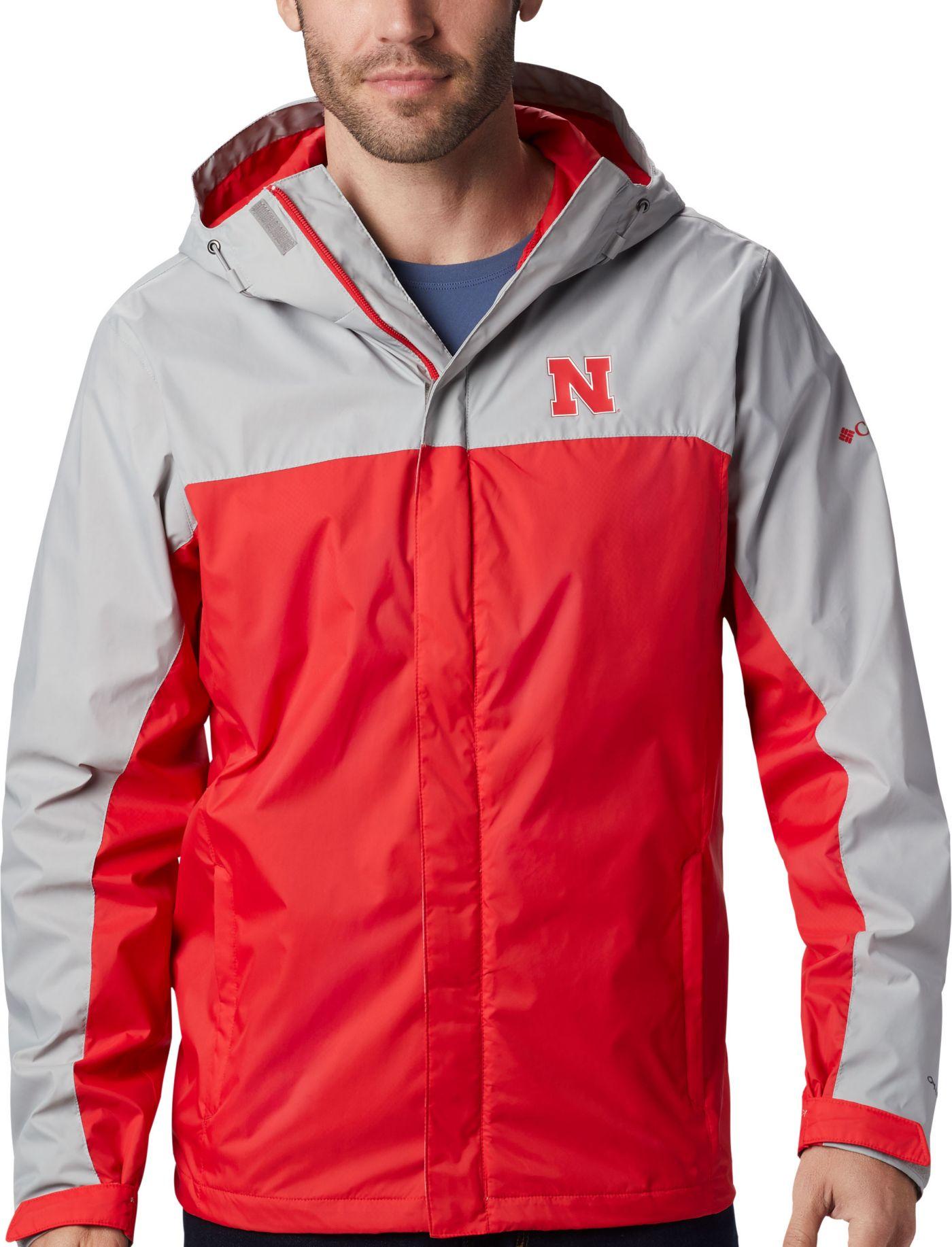Columbia Men's Nebraska Cornhuskers Grey/Scarlet Glennaker Storm Jacket