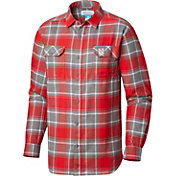 Columbia Men's Nebraska Cornhuskers Scarlet Plaid Flare Gun Flannel Long Sleeve Shirt