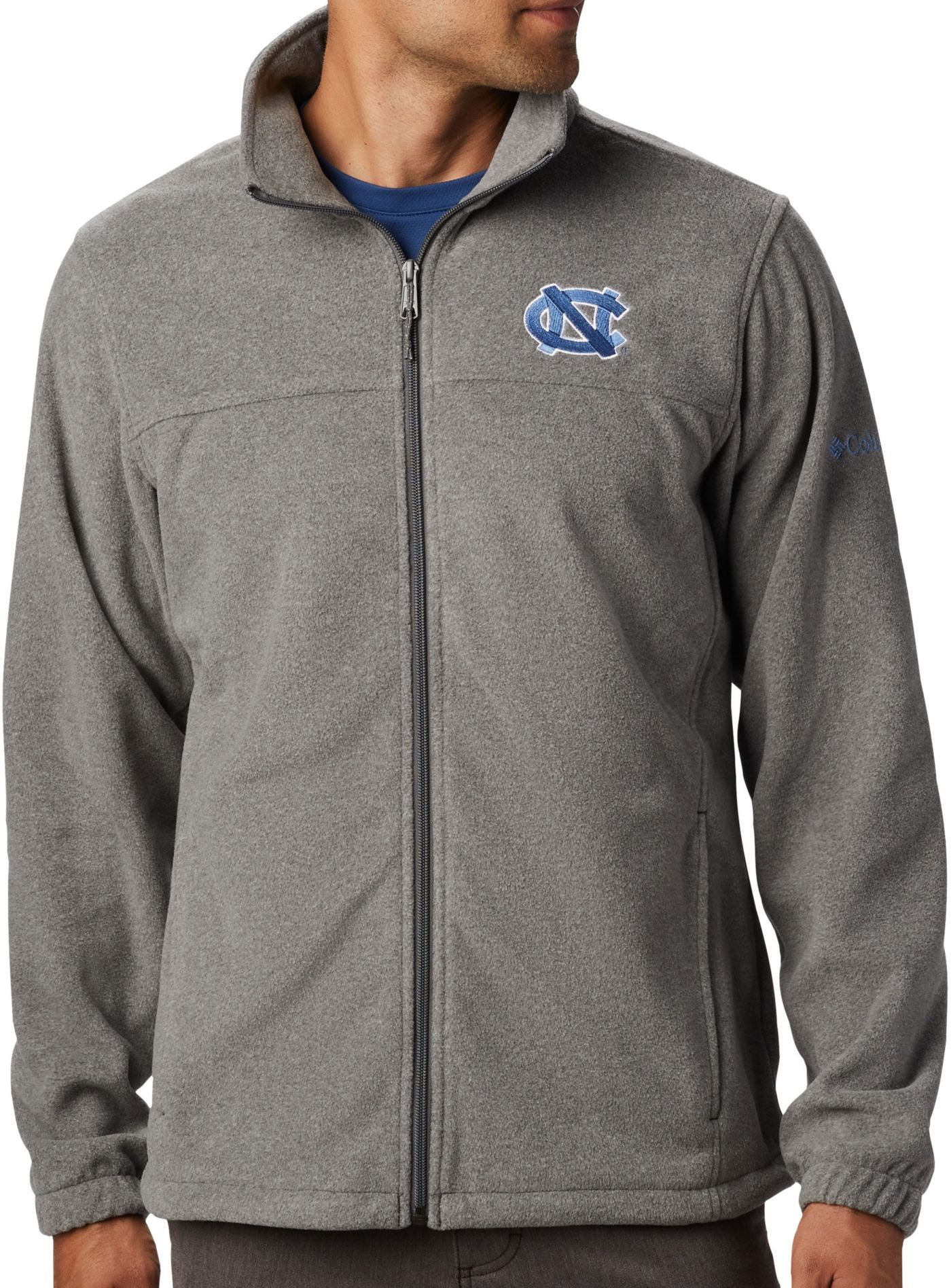 Columbia Men's North Carolina Tar Heels Grey Flanker Full-Zip Fleece Jacket