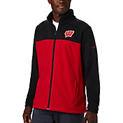 Columbia Men's Wisconsin Badgers Black Flanker Full-Zip Fleece Jacket