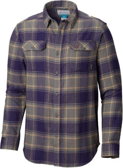 18cdef15f496c Columbia Men s Washington Huskies Purple Plaid Flare Gun Flannel Long  Sleeve Shirt. noImageFound