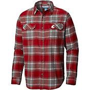 Columbia Men's Washington State Cougars Crimson Plaid Flare Gun Flannel Long Sleeve Shirt