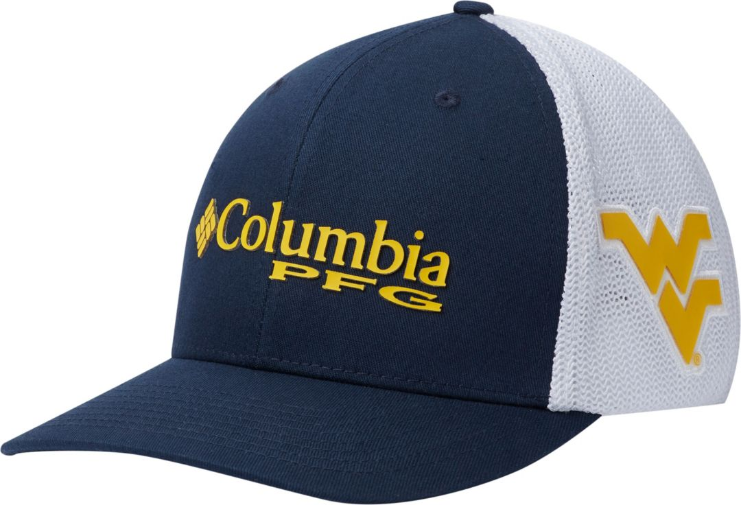 71cb6934 Columbia Men's West Virginia Mountaineers Blue/White PFG Mesh Fitted Hat 1