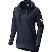 Columbia Women's Michigan Wolverines Blue Downtime Funnel Neck Pullover