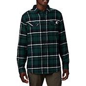 Columbia Men's Michigan State Spartans Green Plaid Flare Gun Flannel Long Sleeve Shirt