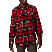 Columbia Men's Nebraska Cornhuskers Scarlet Plaid Flare Gun Flannel Long Sleeve Shirt