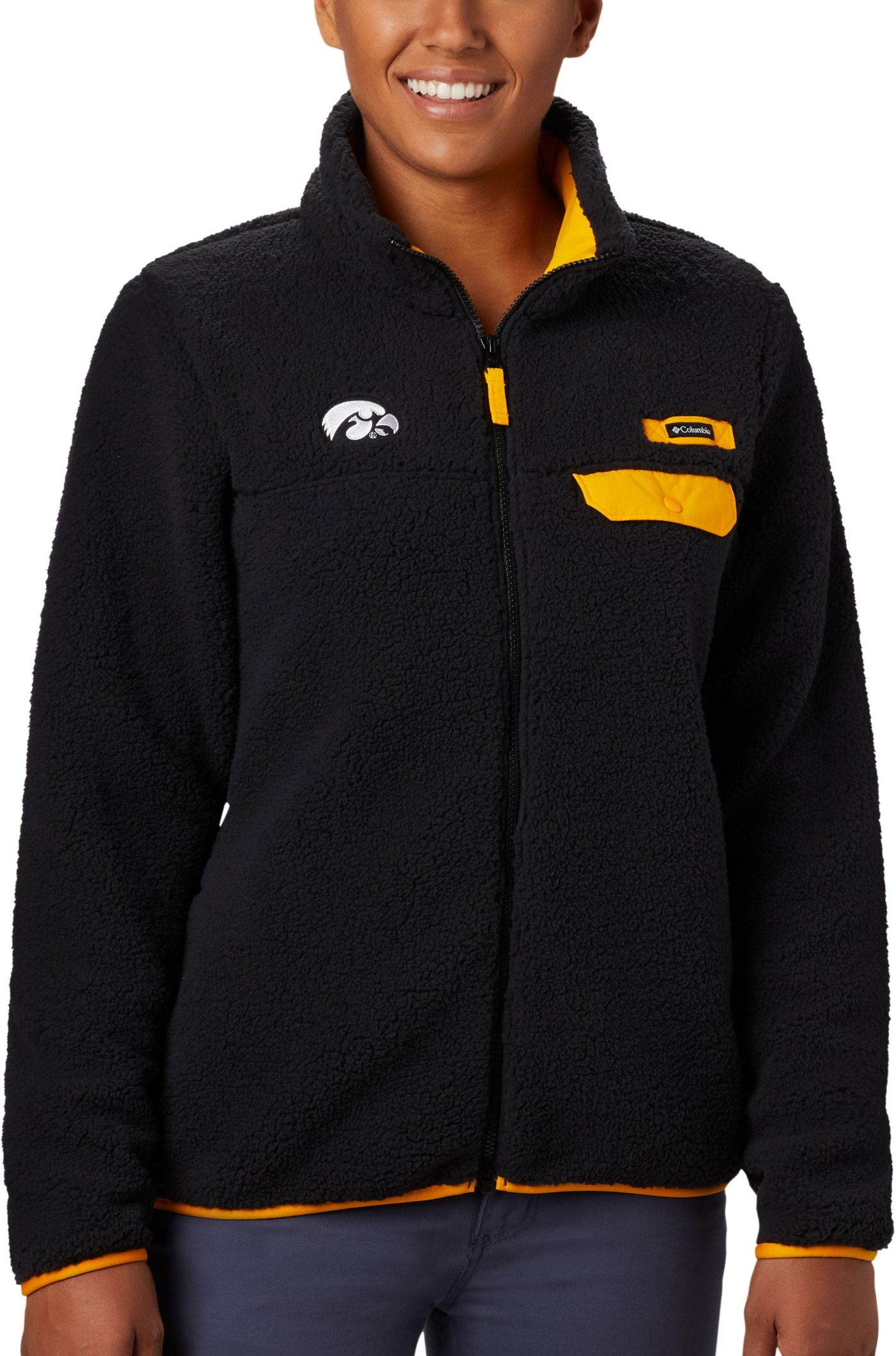 Columbia Women's Iowa Hawkeyes Mountain Side Heavyweight Full-Zip Black Jacket