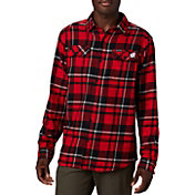 Columbia Men's Wisconsin Badgers Red Plaid Flare Gun Flannel Long Sleeve Shirt
