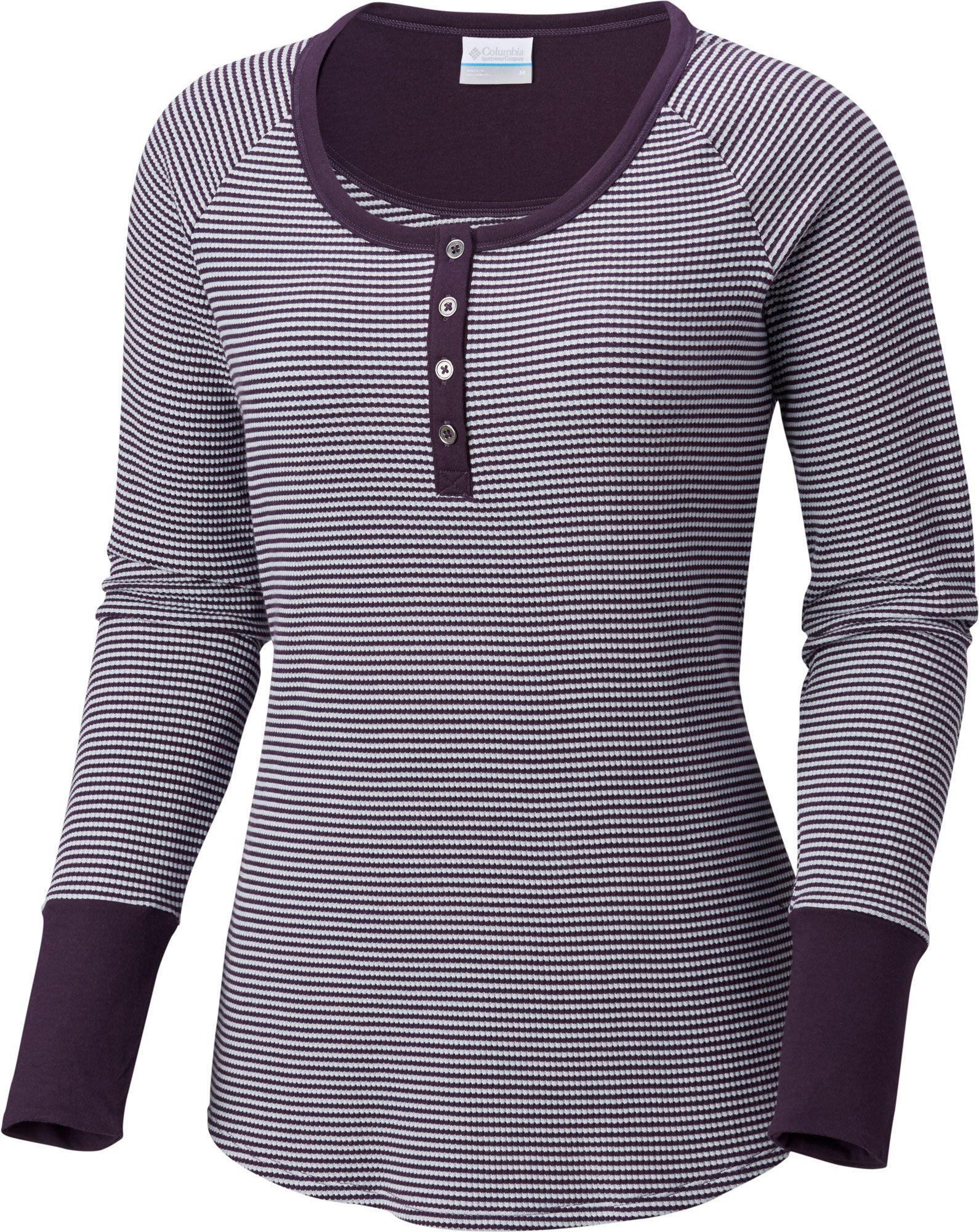 Columbia Women's Along The Gorge Thermal Henley Long Sleeve Shirt, Size: Small, Dark Plum thumbnail
