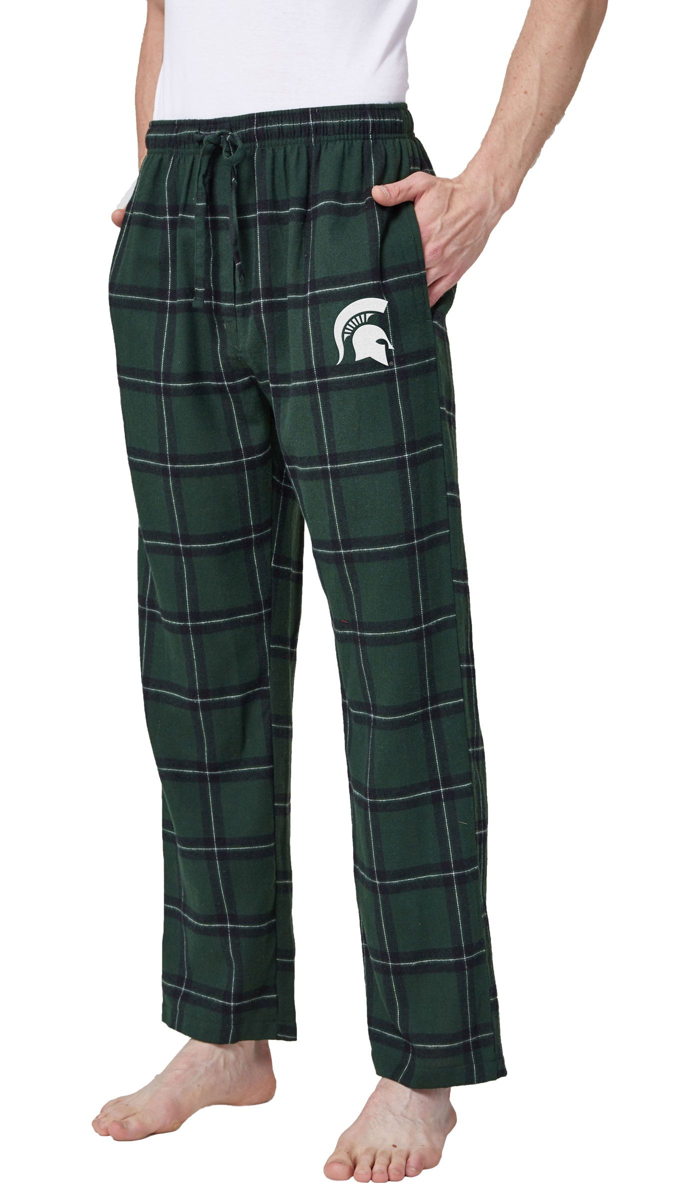 Concepts Sport Men's Michigan State Spartans Black/Green Homestretch Sleep Pants