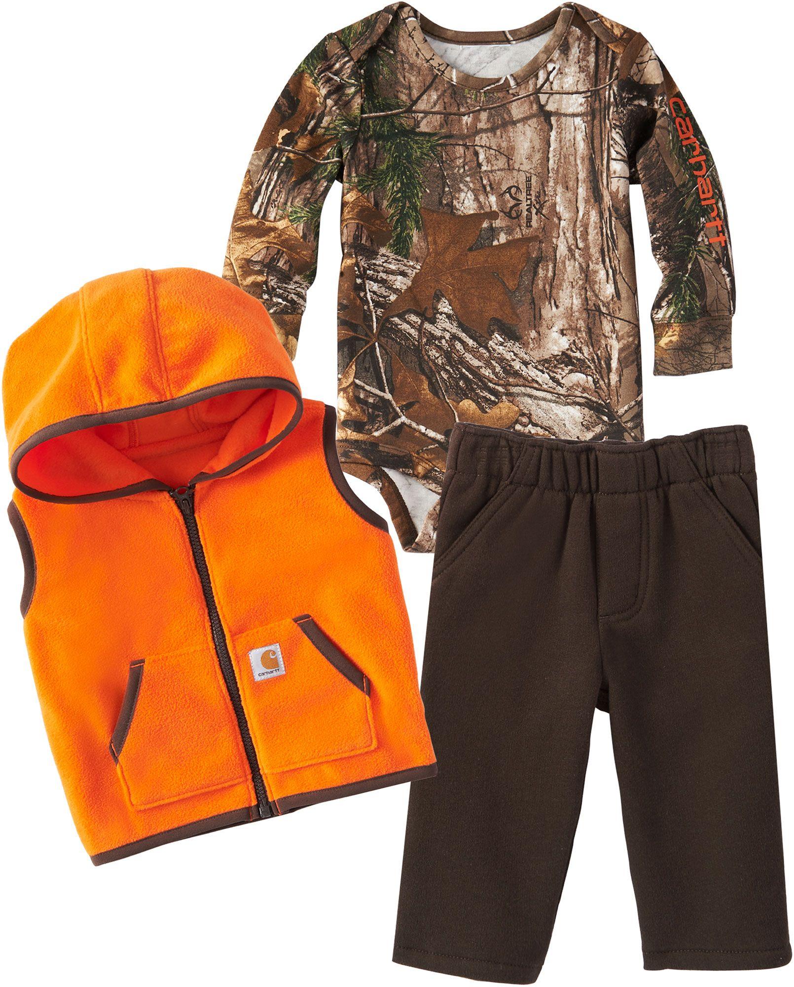 Carhartt Infant Boys' Camo 3-Piece Onesie, Vest and Pant Set, Size: 6M, Brown thumbnail