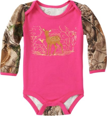 bd1291ad1 Carhartt Infant Girls' Forest Deer Long Sleeve Onesie | Field & Stream