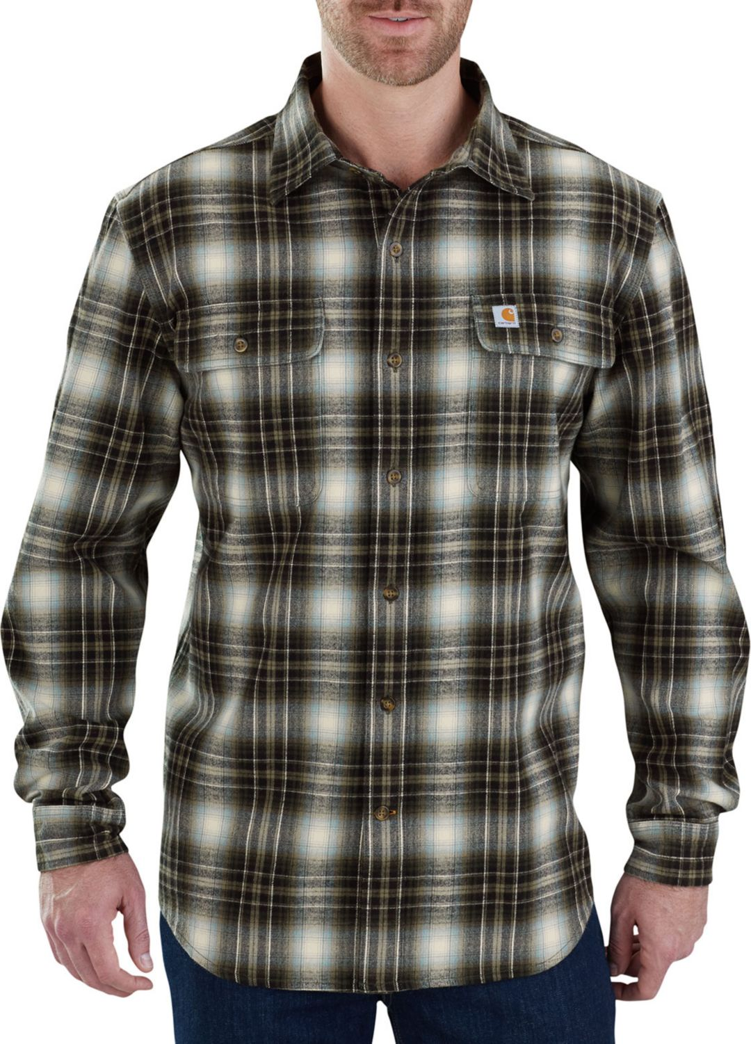 promo codes where to buy genuine shoes Carhartt Men's Hubbard Plaid Long Sleeve Button Down Shirt