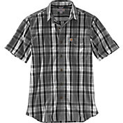 Carhartt Men's Essential Plaid Open Collar Short Sleeve Button Down Shirt