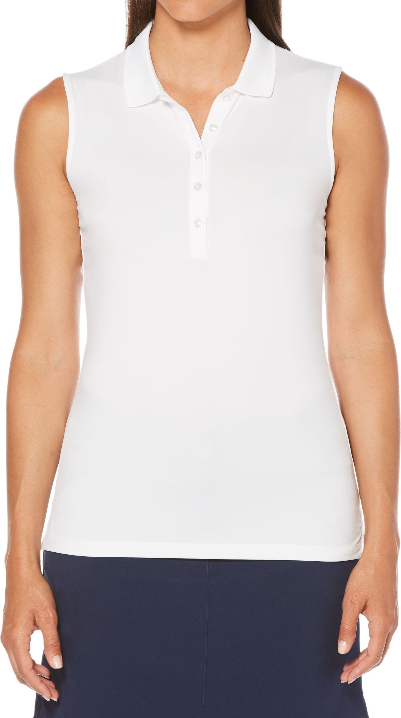 Callaway Women's Sleeveless Core Solid Micro Hex Golf Polo