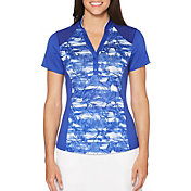 Callaway Women's Ventilated Tonal Floral Mock Golf Polo - Extended Sizes