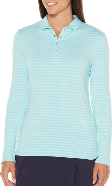 Callaway Women's Opti-Dri Long Sleeve Stripe Golf Polo