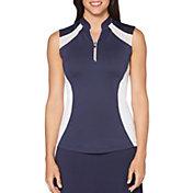 Callaway Women's Ventilated Color Block Mock Sleeveless Golf Polo