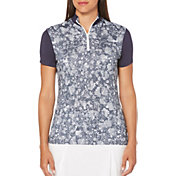 Callaway Women's Ventilated Tonal Floral Mock Golf Polo