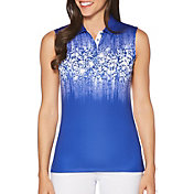 717d75613897a Product Image · Callaway Women s Ventilated Safari Print Mock Sleeveless  Golf Polo