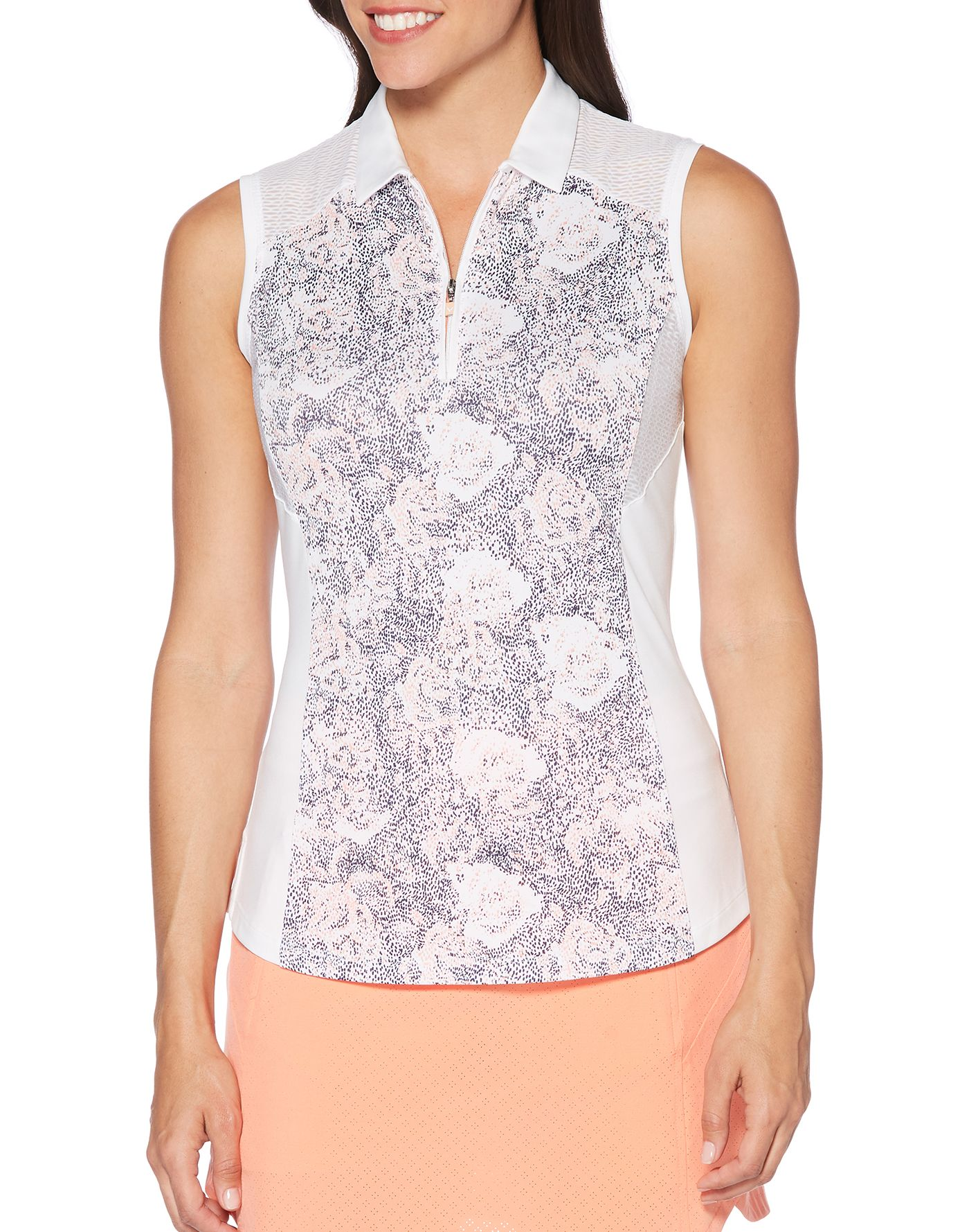 Callaway Women's Ventilated Dotted Blossom Print Golf Polo