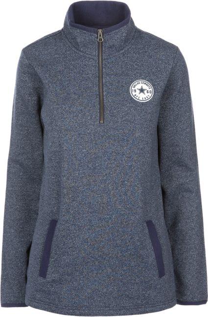 Dallas Cowboys Merchandising Women s Fiona Grey Quarter-Zip Fleece Pullover.  noImageFound 9bef62fb93