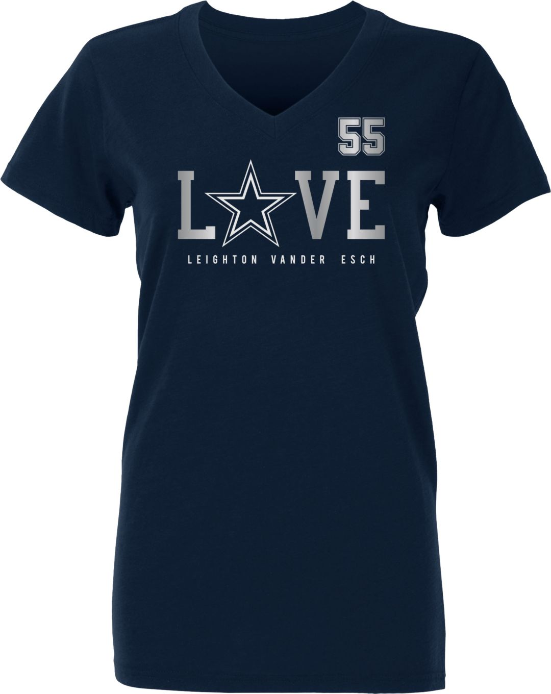 limited guantity top design separation shoes Dallas Cowboys Merchandising Women's Leighton Vander Esch Love Navy T-Shirt