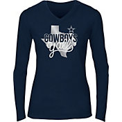Dallas Cowboys Merchandising Women's Kit Foil Navy Long Sleeve Shirt