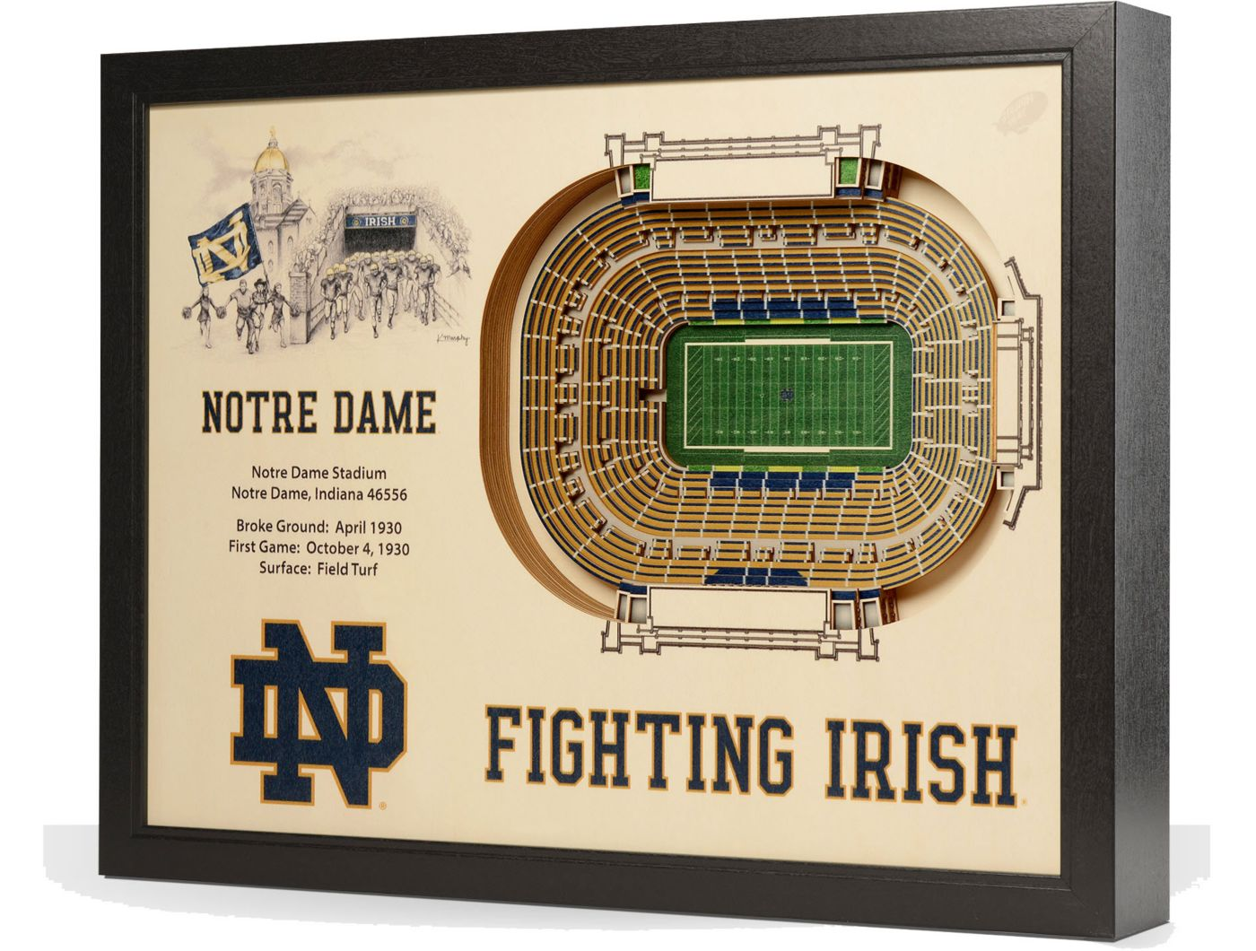 You the Fan Notre Dame Fighting Irish 25-Layer StadiumViews 3D Wall Art