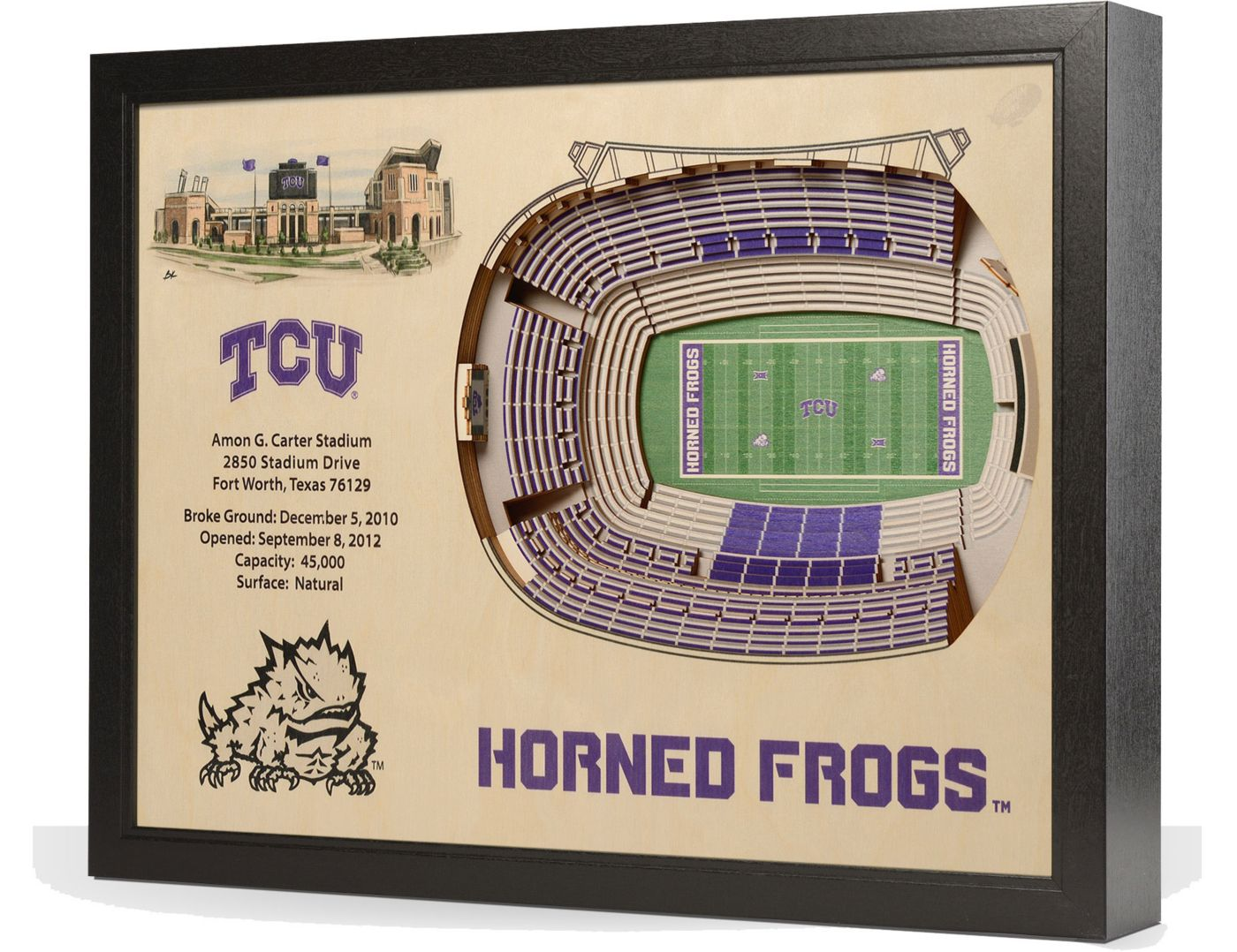 You the Fan TCU Horned Frogs 25-Layer StadiumViews 3D Wall Art
