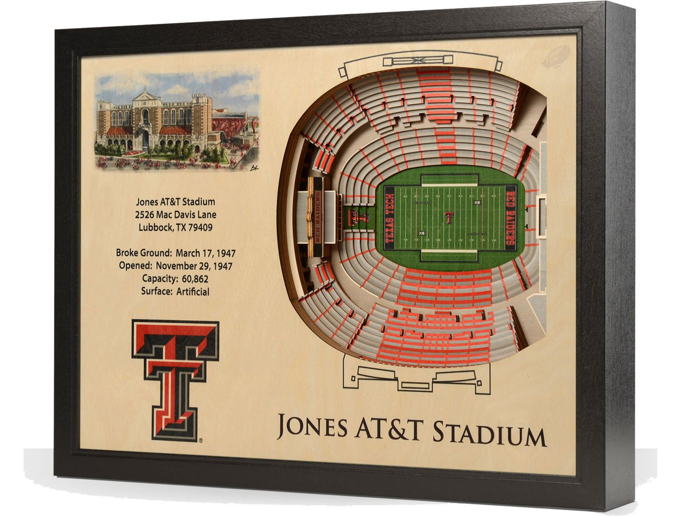 You the Fan Texas Tech Red Raiders 25-Layer StadiumViews 3D Wall Art