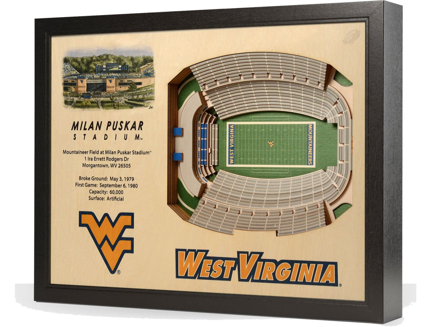 You the Fan West Virginia Mountaineers 25-Layer StadiumViews 3D Wall Art