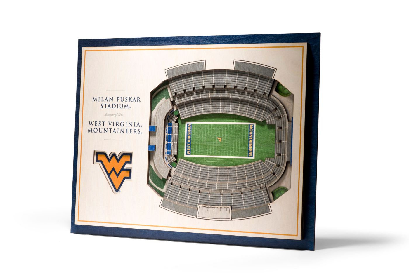You the Fan West Virginia Mountaineers 5-Layer StadiumViews 3D Wall Art
