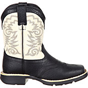 Durango Kids' Black And Cream Saddle Western Boots
