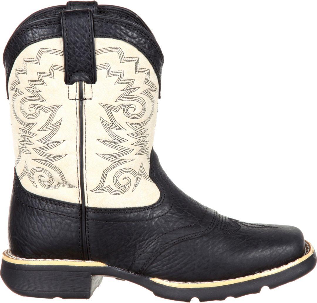 Durango Kids' Black And Cream Saddle Western Boots
