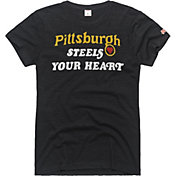 HOMAGE Women's Pittsburgh Steels Your Heart Charcoal T-Shirt