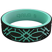 QALO Women's Strata Black and Aqua Flora Silicone Ring