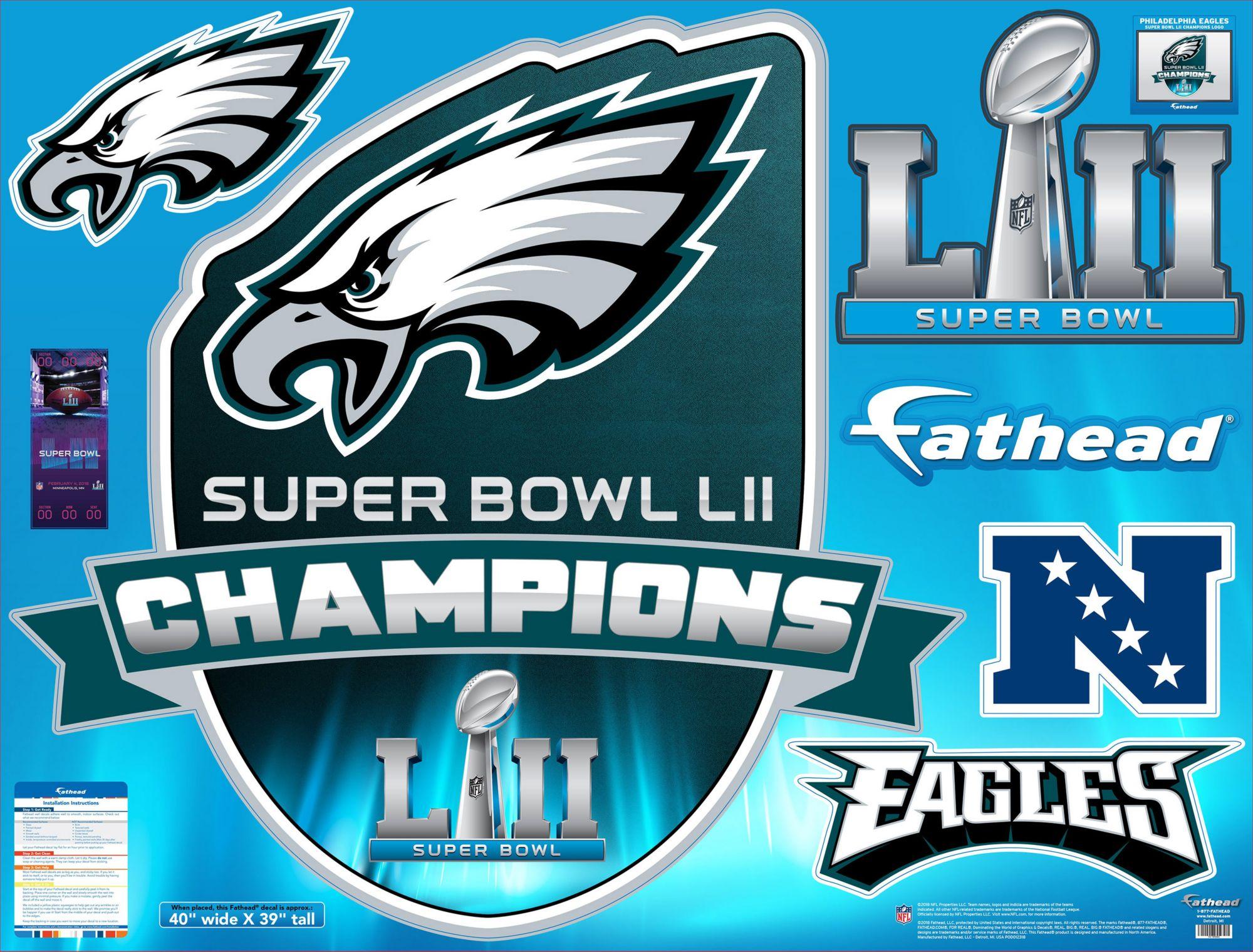 Fathead Super Bowl LII Champions Philadelphia Eagles Real Big Logo ...