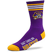 For Bare Feet East Carolina Pirates 4-Stripe Crew Socks