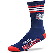 For Bare Feet Gonzaga Bulldogs 4-Stripe Deuce Crew Socks