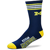 For Bare Feet Michigan Wolverines 4-Stripe Crew Socks