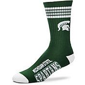 For Bare Feet Michigan State Spartans 4-Stripe Crew Socks