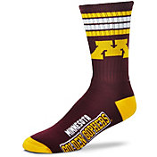 For Bare Feet Minnesota Golden Gophers 4-Stripe Crew Socks