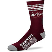 For Bare Feet Mississippi State Bulldogs 4-Stripe Crew Socks