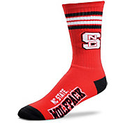 For Bare Feet NC State Wolfpack 4-Stripe Crew Socks