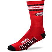 For Bare Feet Arkansas Razorbacks 4-Stripe Crew Socks